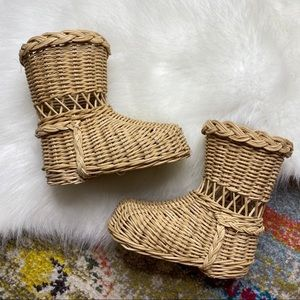 Vintage Wicker 2 Boots Baskets for Plants Florals
